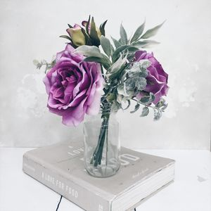 Artificial Rose Bouquet In Purples - room decorations