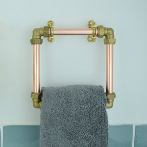 Industrial Copper And Brass Towel Holder - bathroom