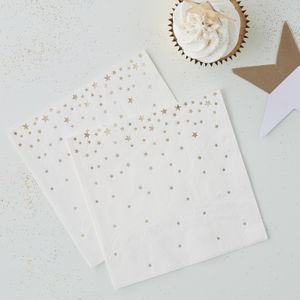 Gold Foiled Star Cocktail Napkins
