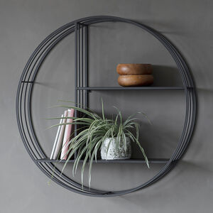 Round Black Metal Wall Shelf Unit