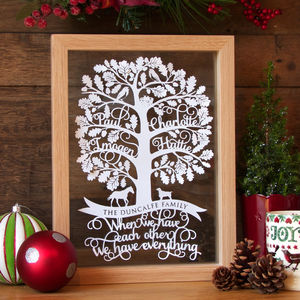 Personalised Family Tree Papercut - 70th birthday gifts