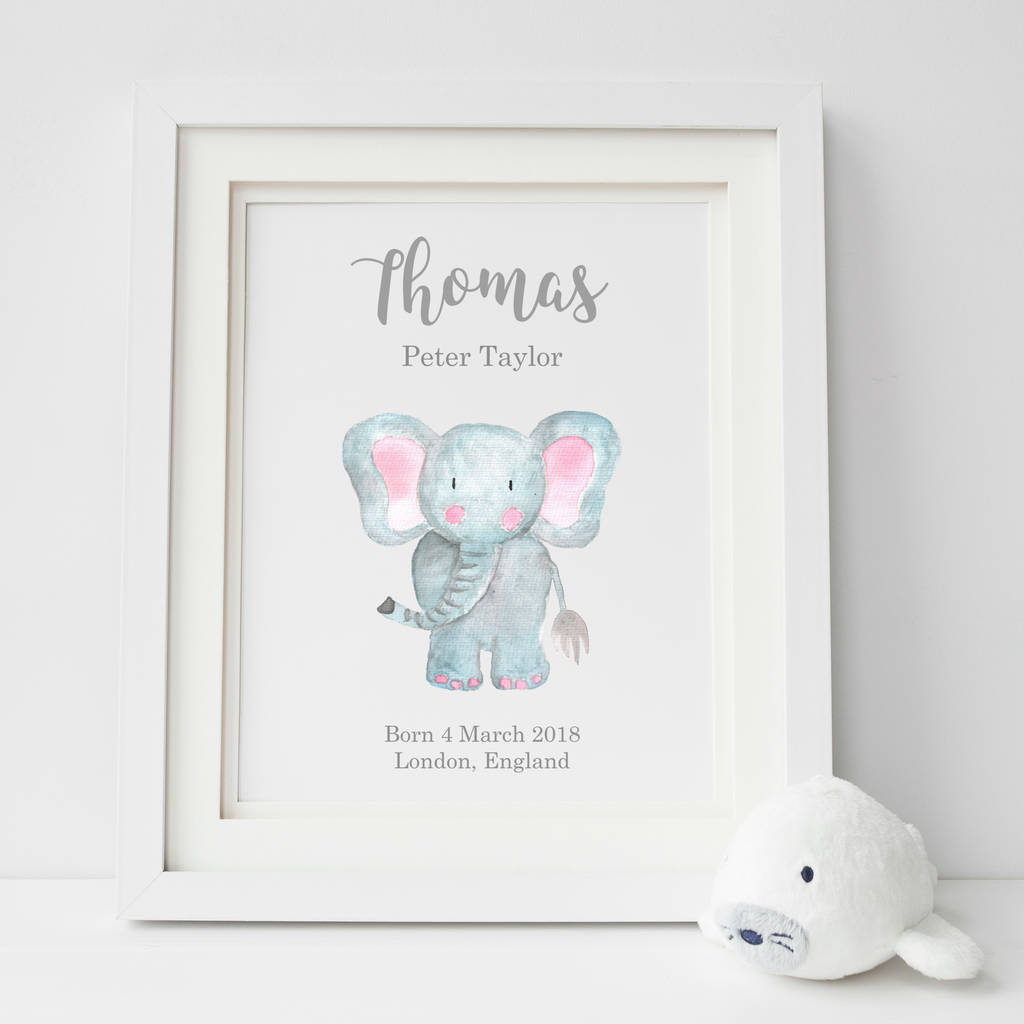 Personalised New Baby Elephant Nursery Art Print