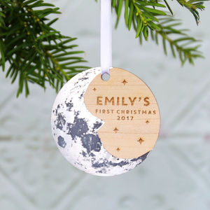 Baby's First Christmas Moon Tree Ornament - christmas decorations