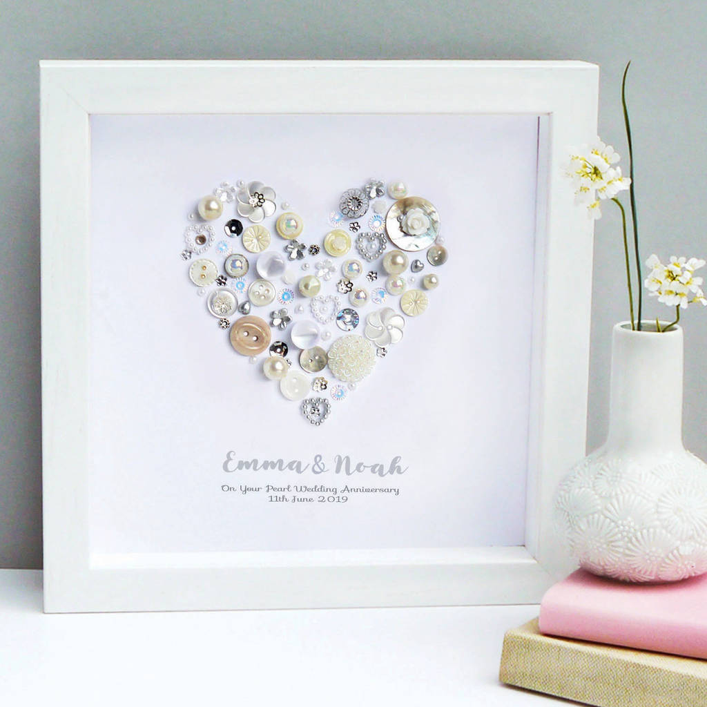 Personalised Pearl Anniversary Art Gift By Sweet Dimple