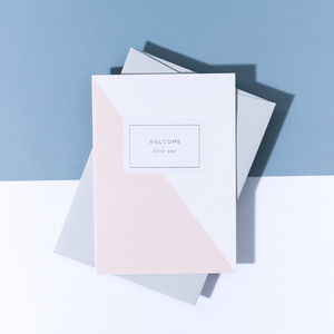 'Welcome Little One' Baby Girl Card, Pale Grey Envelope