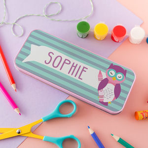 Children's Personalised Wise Owlet Pencil Tin - stationery
