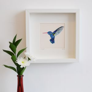 Hummingbird Framed Embroidery Art - art & pictures