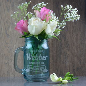 Mr And Mrs Personalised Flower Vase Jar
