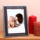 Engraved Black Silver Photo Frame Portrait