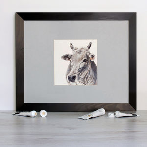 Grey Cow Signed Mounted Giclée Print