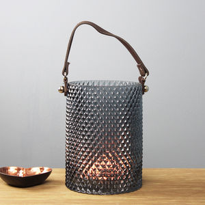 Blue Glass Lantern With Leather Handle