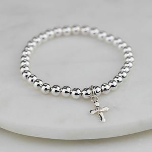 Child's Silver Christening Bracelet With Silver Cross - charms, charm bracelets & necklaces
