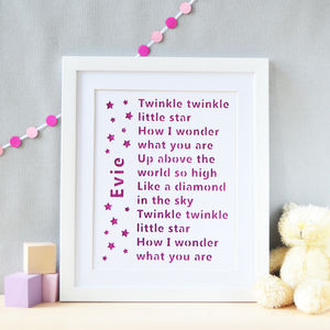 Personalised Twinkle Twinkle Glittered Cut Out Wall Art