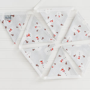 Christmas Snowman Linen Bunting - garlands & bunting