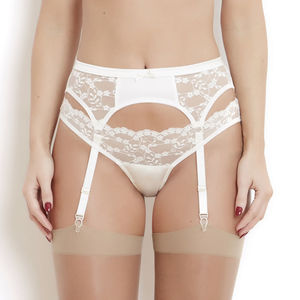 Ivory Silk And French Lace Sophia Suspender Belt