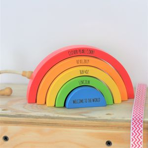 Personalised Wooden Rainbow Building Blocks For Kids