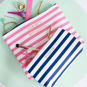 Personalised Striped Organiser Bag - gifts for teenage girls