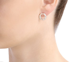 Textured Circle Stud Earrings - earrings