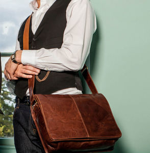 Men's Luxury Leather Messenger Bag