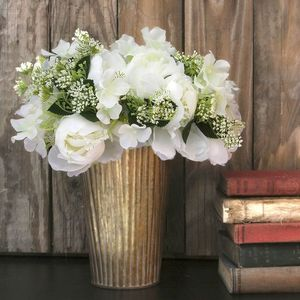 White And Green Faux Peony Posy