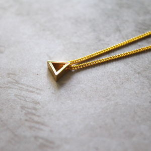 Children's Gold Plated Mini Triangle Charm Necklace