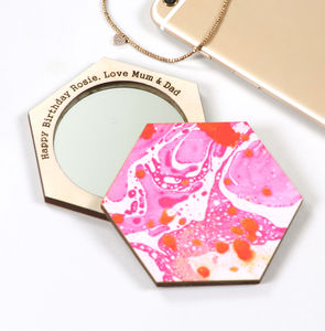 Personalised Birthday Pink Marble Compact Pocket Mirror - gifts for her