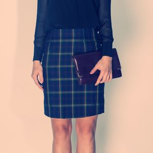 Check Silk Pencil Skirt - women's fashion