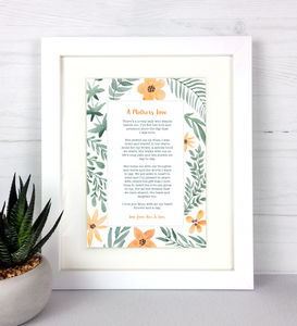 A Mothers Love Poem Personalised Print