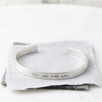Women's Personalised Silver Handwriting Bangle