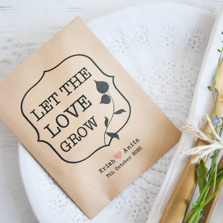10 \'let the love grow\' seed packet favours by wedding in a teacup ...