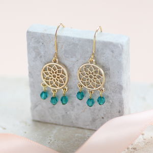 Gold Dreamcatcher Birthsone Charm Earrings