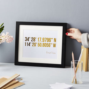 Personalised Coordinates Gold Foil Print - gifts for couples
