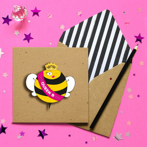 Blank 3D Queen Bee Personalised Greeting Card