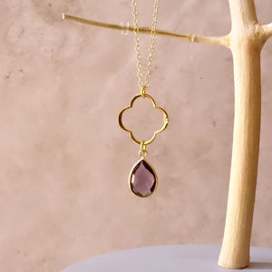 Amethyst February Birthstone Clover Necklace