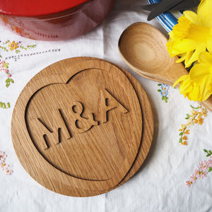 Personalised Wooden Trivet - gifts for couples