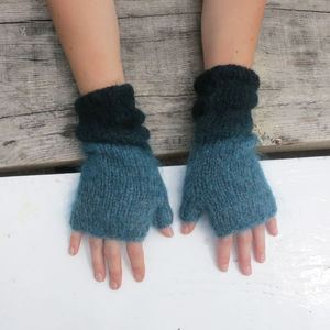Fairtrade Dip Dye Ethical Mohair Fingerless Wristwarmer