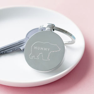 Personalised Engraved Mummy Bear Keyring - winter sale