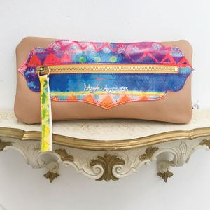 'Aquarelle Rainbow' Boho Leather Clutch Bag - summer sale