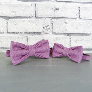 Father And Son Yorkshire Tweed Bow Tie Set - ties & tie clips