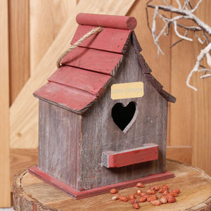 Personalised Red Wooden Heart Birdhouse
