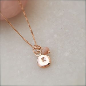 9ct Rose Gold Initial Pebble And Birthstone Pendant - necklaces & pendants