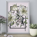 Personalised Lily Botanical Flower Print