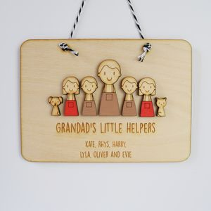Personalised Grandad Or Daddy's Helpers Sign - gifts for him