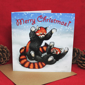 Snowfight Red Pandas Illustration Christmas Card - cards & wrap