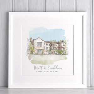 Watercolour Wedding Sketch - best wedding gifts