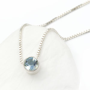 Aquamarine Necklace March Birthstone - necklaces & pendants