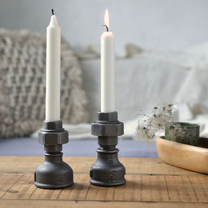 Pair Of Industrial Style Candle Holders