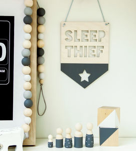 Sleep Thief New Baby Gift Wooden Sign - new baby gifts