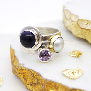 Amethyst And Pearl Personalised Stacking Rings