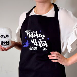 Personalised Kitchen Witch Halloween Apron